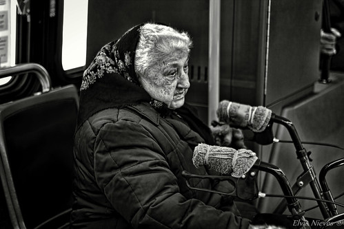 Old lady on the bus by Elvis Nieves Photography