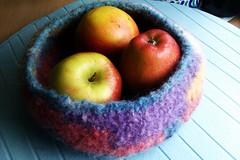 Felted fruit basket