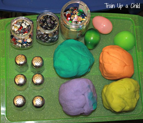 Playdough Easter Eggs (Photo from Train Up a Child)