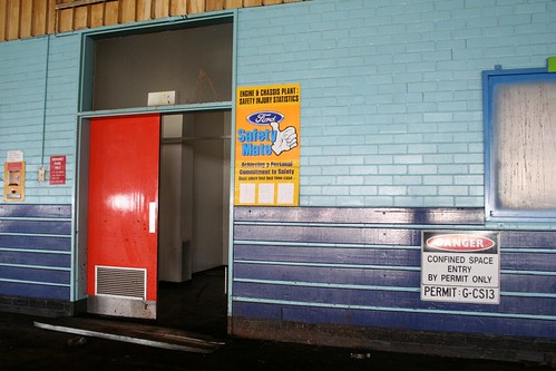 Safety signs in the abandoned Ford factory