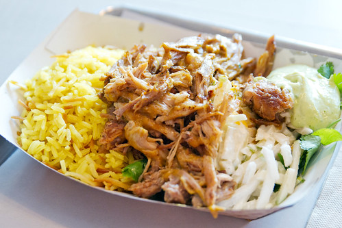 Pulled pork rice plate