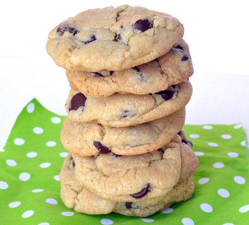 stacked chewy chocolate chip cookies
