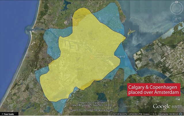Urban Sprawl Comparison - Calgary and Copenhagen and Amsterdam