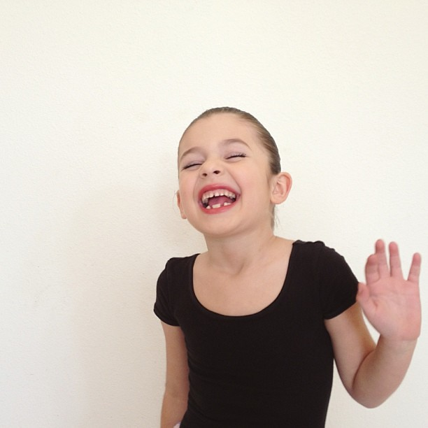 This girl is excited about today's recital.