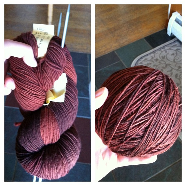 handspun yarn skein rolled into a ball