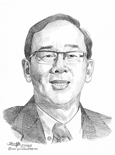 Pencil portrait for Chinese Swimming Club Peter Liew - 12