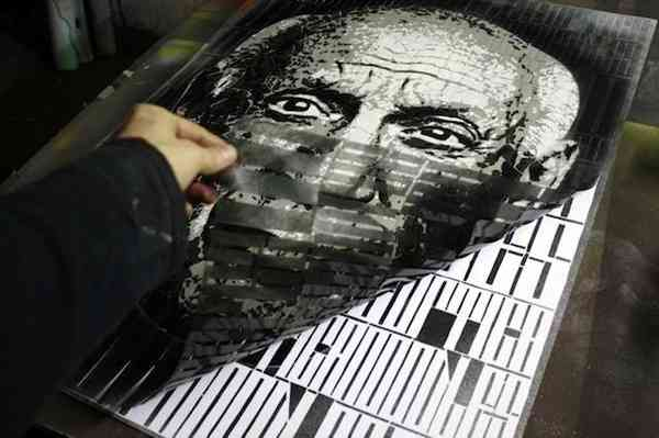 retratos de tipografías como stencil
