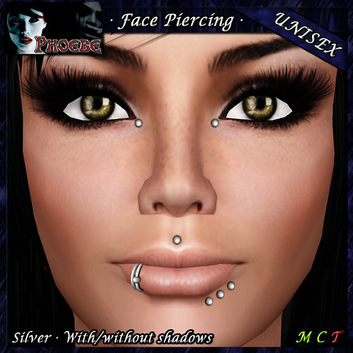 *P* Unisex Face Piercing K7 ~Silver~