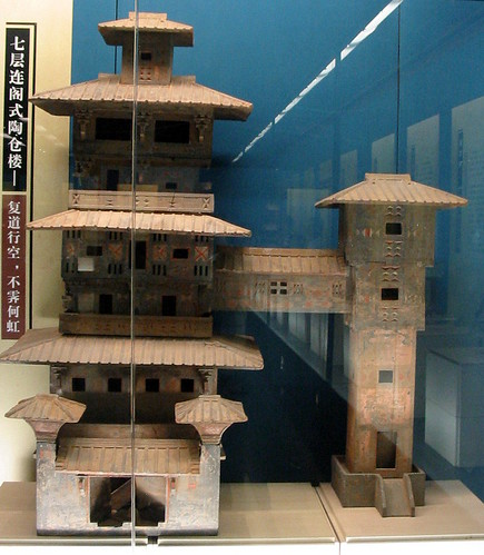 An elaborate replica in clay of one of China's ancient buildings