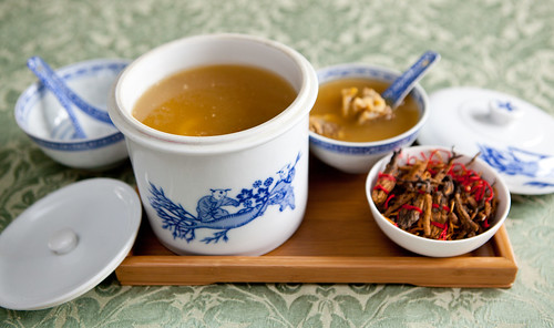 Worm Grass Soup (or Vegetable Caterpillar; 冬虫夏草湯)
