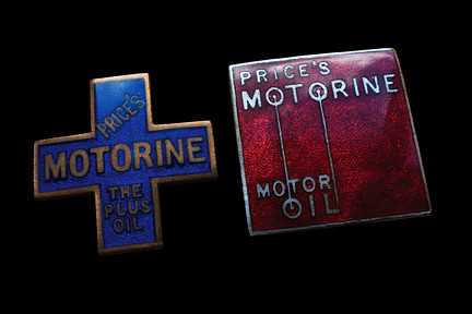 Price's Motorine Oil badges c1930/31