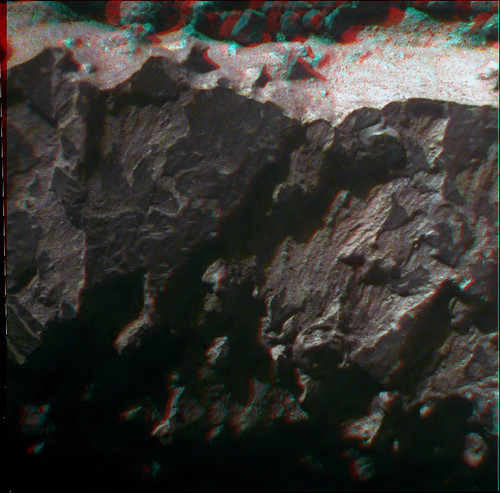 Opportunity sol 3267 Microscopic Imager anaglyph detail