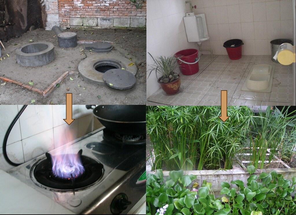 廚餘經沼氣池產生瓦斯,排泄物經旱廁成為堆肥。(高清蓉提供)