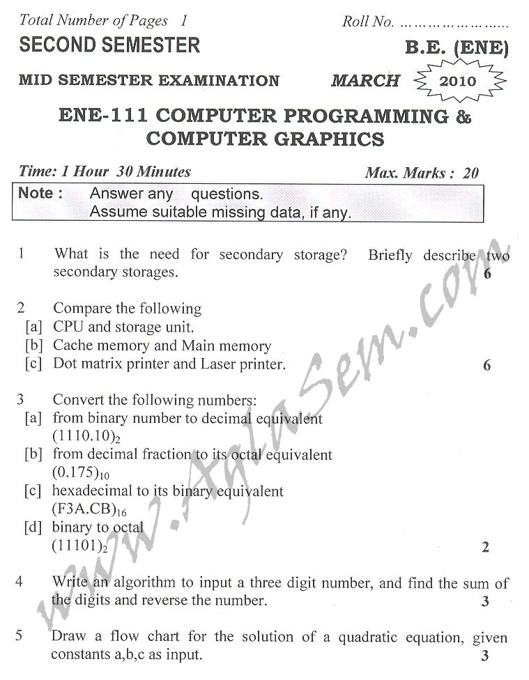DTU Question Papers 2010 – 2 Semester - Mid Sem - ENE-111