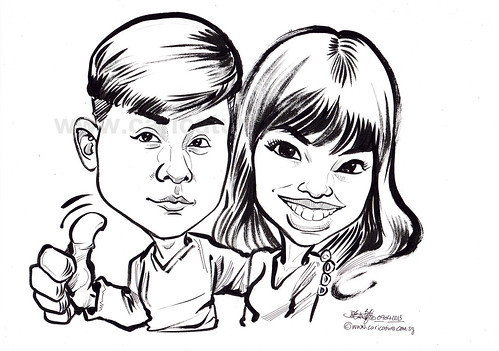 couple caricatures in pen and brush
