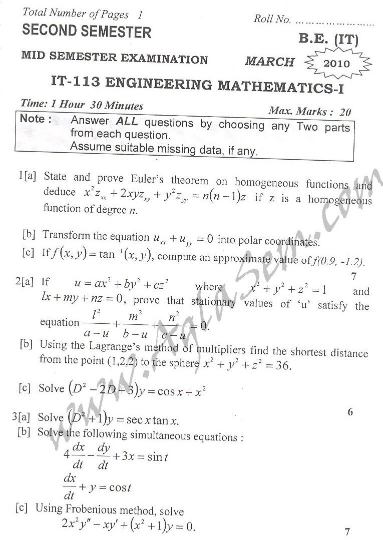 DTU Question Papers 2010 – 2 Semester - Mid Sem - IT-113