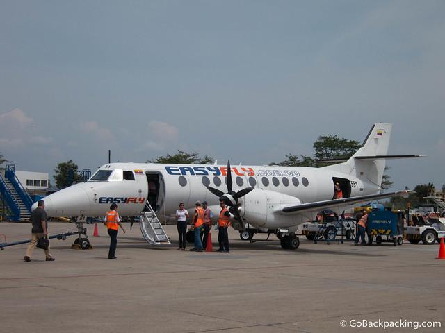 Boarding my return flight from Bucaramanga to Medellin