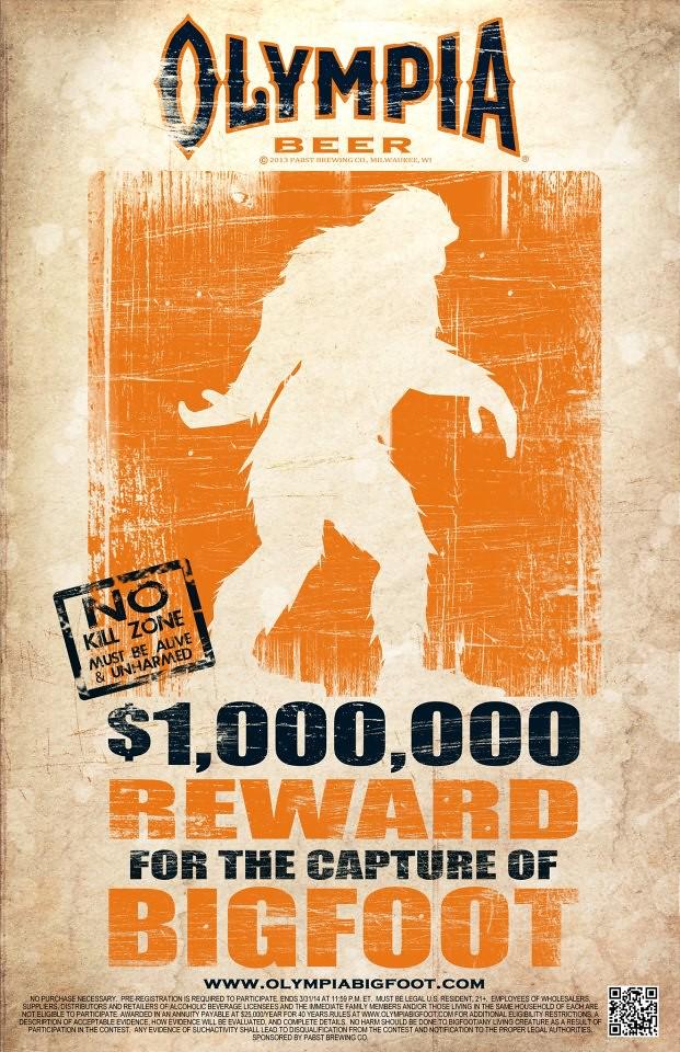 Olympia Beer $1M Reward for Bigfoot