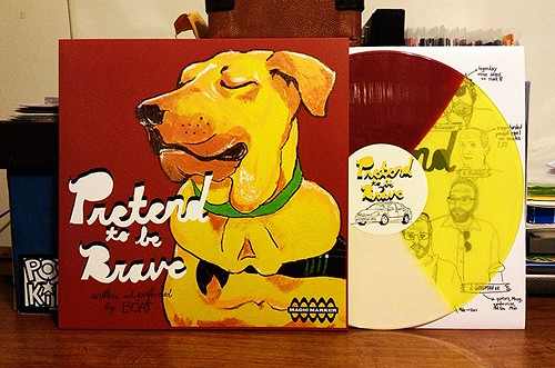 BOAT - Pretend To Be Brave LP - Red, Yellow & White Tri Color Vinyl by Tim PopKid