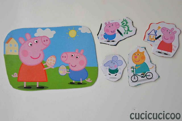peppa pig upcycled homemade magnets