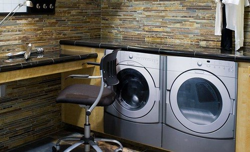 Natural stone laundry area