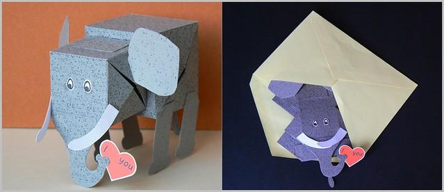 Elephant Pop up paper model