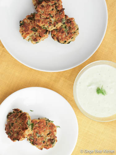 quinoa patties with tzatziki sauce