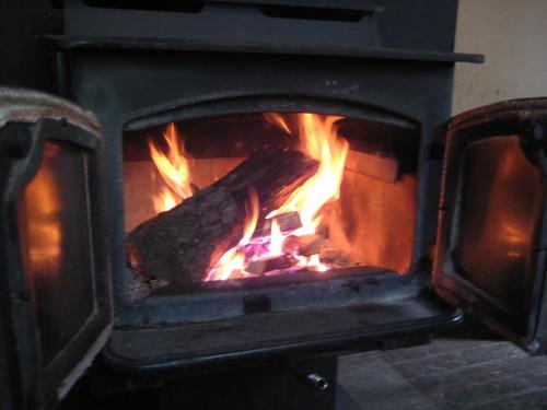 Wood burning inside stove