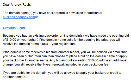 andyrush.com at auction