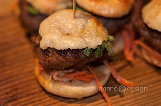 Mini Banh Mi Sliders with hoisin mayo and siracha smear