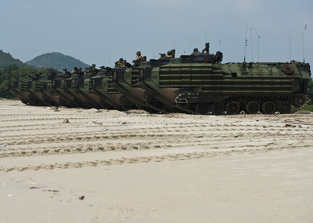31st Marine Expeditionary Unit (MEU) line up to return to amphibious dock landing ship USS Germantown (LSD 42)