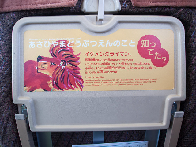 The seat of JR Asahiyama Zoo train