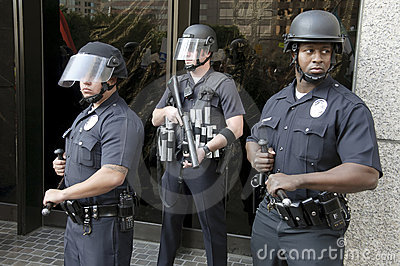 riot police guard BofA during occupy la march