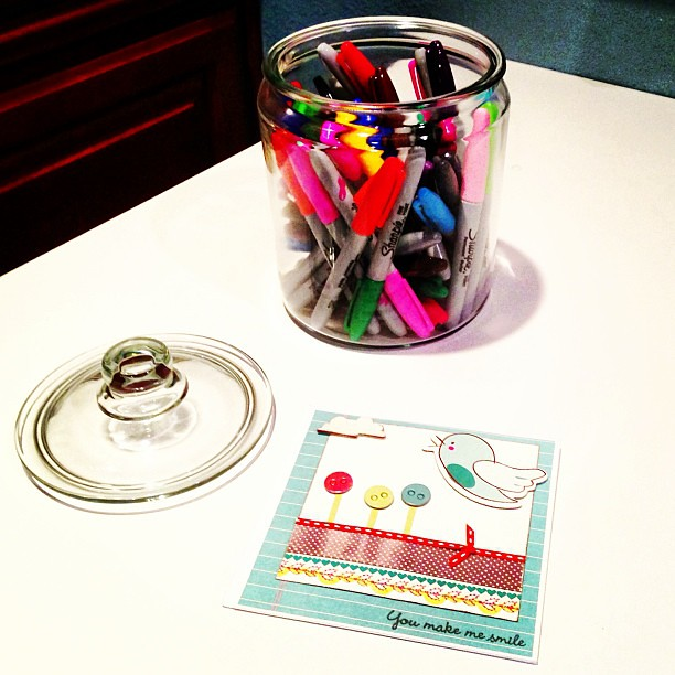 Had to break out the jar of rainbow @Sharpie pens to write on a cute card today.