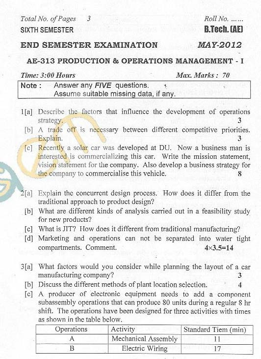 DTU: Question Papers 2012 - 6 Semester - End Sem - AE-313