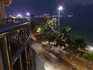 Beach Road at Night Gulf of Thailand Meer Nacht Lights Lichter