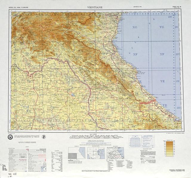 SHEET NE 48 - Bản đồ khu vực VN giữa vĩ tuyến 20 và vĩ tuyến 16 - 1971. Tỷ lệ 1/1.000.000