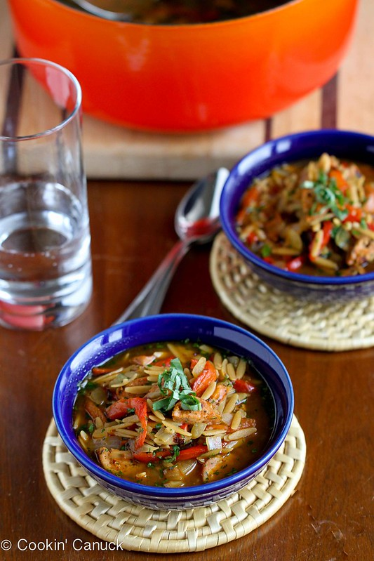 Hearty Chicken Sausage, Roasted Pepper and Whole Wheat Orzo Soup Recipe | cookincanuck.com #soup #chicken