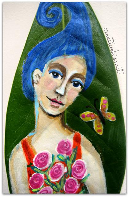 blue hair girl magnolia leaf