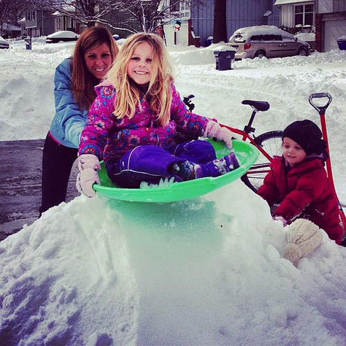 Sadie Piper doing what we never got to experience as kids in Texas. So glad our kids know what snow is.