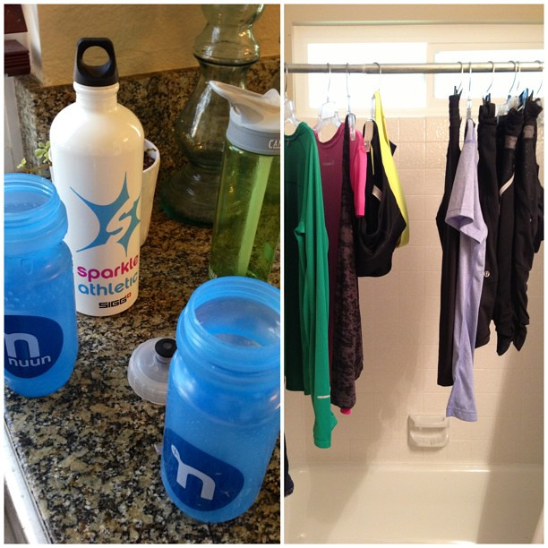 Things You Find In A Runner's House: @nuunhydration & @runTeamSparkle water bottles everywhere, along with running clothes taking up the shower curtain rod. #teamsparkle #running #runchat