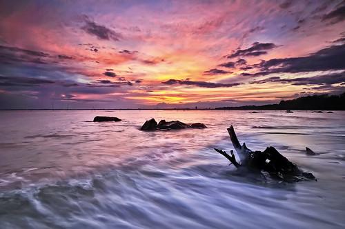 sunset beach landscape nikon wave national final splash geographic kuantan pahang ombak tuah roslan tembeling rindu