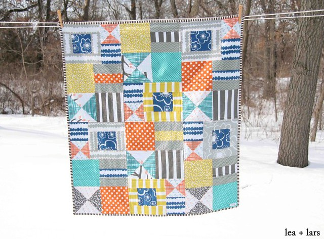 bizzy kid quilt using bella fabric