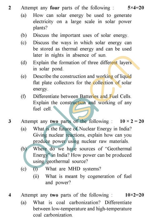UPTU: B.Tech Question Papers - TCH-604 - Energy Resources & Utilization