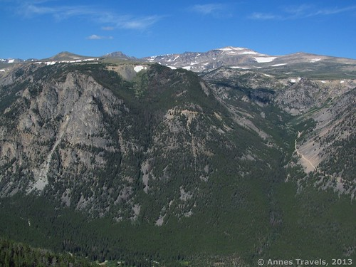 Mount Rearguard (the middle snow-flecked mountain) from Vista Point, Beartooth Highway, Custer National Forest, Montana