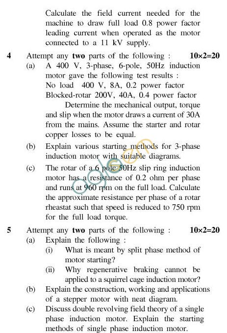 UPTU B.Tech Question Papers - TEE-405-Electrical Machines