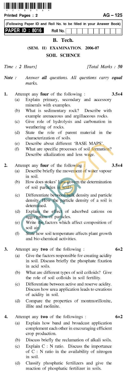 UPTU B.Tech Question Papers - AG-125 - Soil Science