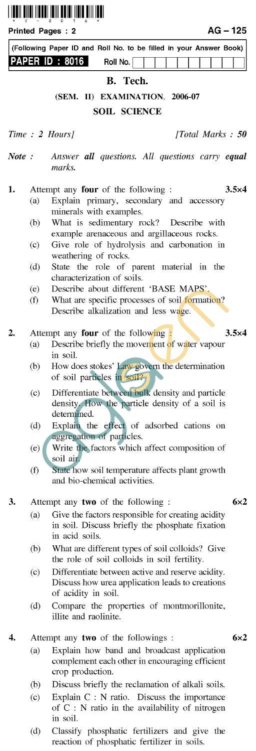 UPTU B.Tech Question Papers - AG-125 - Soil Science
