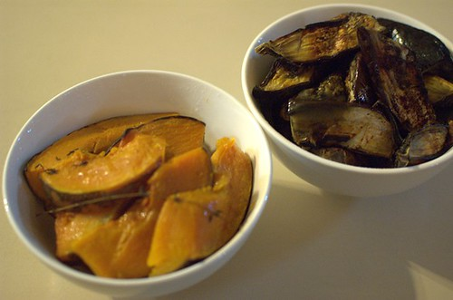 Roast pumpkin with cumin and sea salt, baked eggplant and paprika