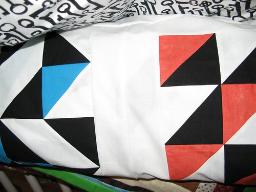 Black, white, color quilt top and back